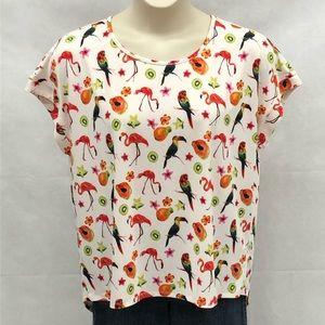 Tacera tropical print short sleeve top